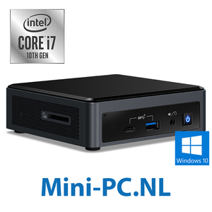 Intel® NUC + Core i7-10710U / 16GB / 1000GB SSD / Windows 10 (3,8cm - laag)